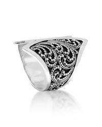 Lois Hill Metallic Sterling Silver Cutout Scroll & Granulation Big Ring