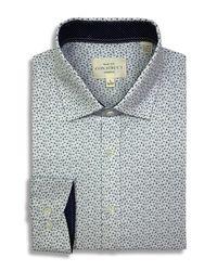 Con.struct Blue Mini Floral Print Slim Fit Dress Shirt for men
