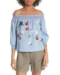 Joie Blue Citra Embellished Peasant Top