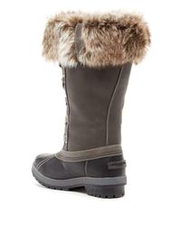 London Fog - Gray Melton Faux Fur Trim Boot - Lyst