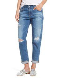 AG Jeans - Blue Ex-boyfriend Crop Slim Jeans - Lyst