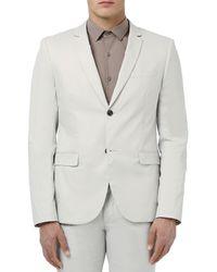 Topman Blue Skinny Fit Cotton Suit Jacket for men