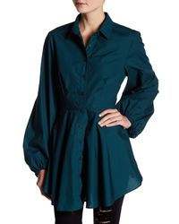 Free People Blue Front Button Tunic