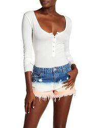 Free People White Long Sleeve Henley Bodysuit