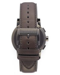 Burberry - Gray Men's Check Stamped Chronograph Leather Strap Watch for Men - Lyst