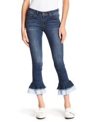 William Rast Blue Frayed Hem Ankle Skinny Jeans