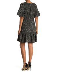 West Kei Black Ditsy Floral Print Ruffle Hem Mini Dress