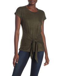 Bobeau Green Hacci Tie Front T-shirt