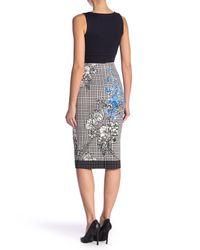 Eci Blue Patterned Pencil Skirt