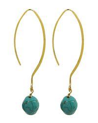 Charlene K Blue 14k Gold Plated Sterling Silver Turquoise Drop Earrings
