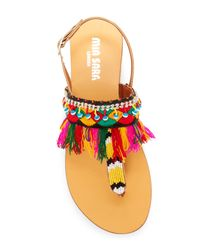 Mia Sara London - Multicolor Embroidery Detail Beaded Sandal - Lyst