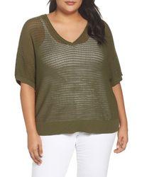 Sejour - Green Open Stitch Cotton Sweater (plus Size) - Lyst