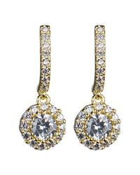 CZ by Kenneth Jay Lane - Metallic Prong Set Cz & Pave Drop Earrings - Lyst