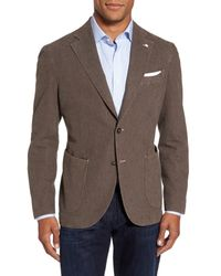 Lubiam Brown Classic Fit Cotton Blend Blazer for men