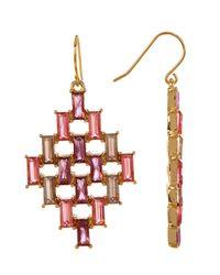 Carolee - White Baguette Kite Drop Earrings - Lyst