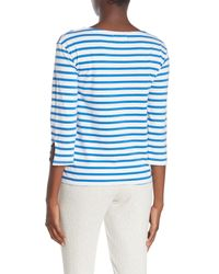Velvet Blue Stripe Knit T-shirt