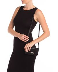 Sorial Black Rubina Lizard Embossed Leather Cell Phone Crossbody Bag