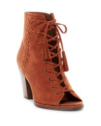 Frye Brown Dani Whipstitched Open Toe Bootie
