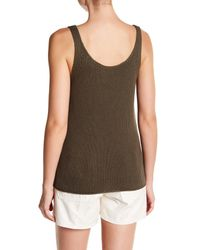 Vince - Green Lattice Stitch Scoop Neck Tank - Lyst
