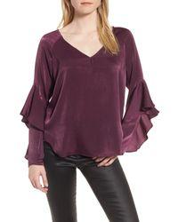 Chelsea28 - Purple Ruffle Sleeve Blouse - Lyst