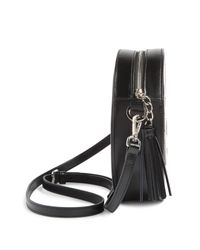 Valentino By Mario Valentino Black Passy Mirror Leather Round Crossbody Bag