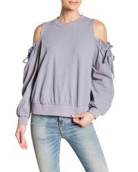Lush Blue Ruffle Cold Shoulder Linen Blend Sweatshirt