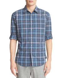 John Varvatos - Blue Everly Extra Trim Fit Plaid Sport Shirt for Men - Lyst