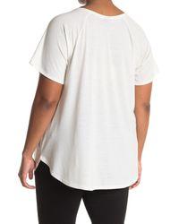 Bobeau White Split Neck Screen Graphic T-shirt