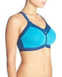 Wacoal | Blue Zip Front Underwire Sports Bra | Lyst