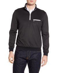 Bugatchi Black Long Sleeve Half Zip Sweatshirt for men