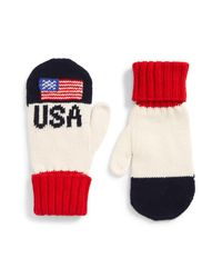 Polo Ralph Lauren - Blue Colorblocked Flag Mittens for Men - Lyst