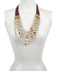Sparkling Sage - Metallic 14k Yellow Gold Plated Layered Chain Link And Bead Embellished Statement Necklace - Lyst