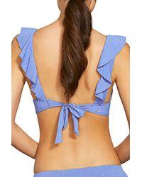 Robin Piccone Blue Jennie Ruffle Bikini Top
