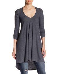 Go Couture Gray V-neck Tunic Sweater
