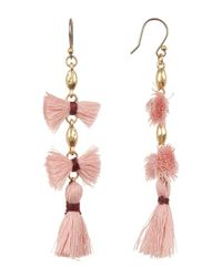 Lucky Brand Multicolor Multi Tassel Drop Earrings