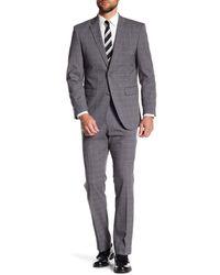 Perry Ellis - Gray Grey Plaid Two Button Notch Lapel Slim Fit Suit for Men - Lyst