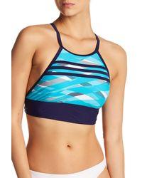 Adidas Blue Overlay Stripe Bikini Top