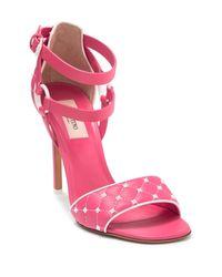 Valentino Pink Valentino Garavani The Rockstud Quilted Leather Sandals