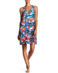Fifteen Twenty - Blue Crisscross Floral Tank Dress - Lyst