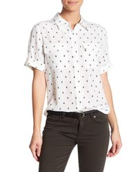 Equipment White Slim Signature Short Sleeve Bee Print Silk Shirt