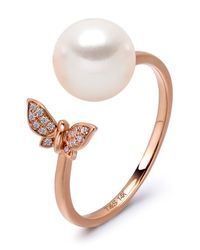 Tara Pearls - Pink 14k Rose Gold 7.5-8mm Akoya Cultured Pearl & Diamond Butterfly Ring - Size 7 - Lyst