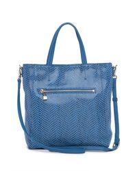 Sorial Blue Rubina Lizard Embossed Leather Mini Tote Bag