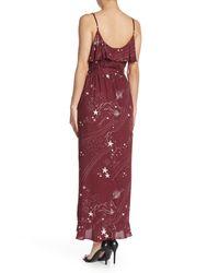 Love Stitch Red Ruffle Trim Print Wrap Maxi Dress