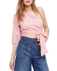 Urban Outfitters - Red Get Down One Shoulder Shirt - Lyst