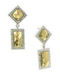 1928 - Metallic Geometric Stone Drop Earrings - Lyst