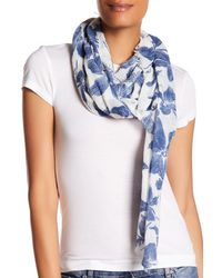 Roffe Accessories Blue Floral Print Crinkle Textured Scarf