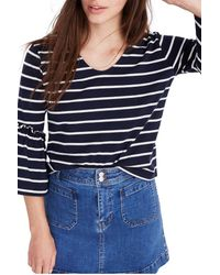 Madewell Blue Irwin Stripe Ruffle Sleeve Top