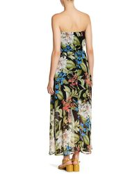 Bobeau Multicolor Tropical Print Strapless Maxi Dress (petite)