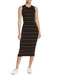 A.L.C. Black Shane Stripe Knit Midi Dress