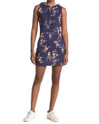 Material Girl Blue Short Sleeve Hooded Kangaroo Pocket Dress